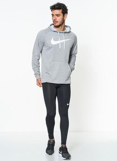Nike Baskılı Kapüşonlu Spor Sweatshirt Gri